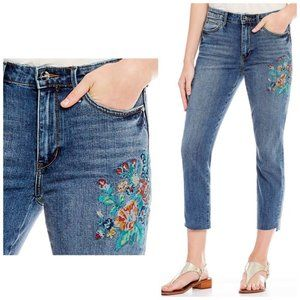 Sam Edelman Mary Jane Embroidered Jeans Size 25